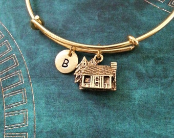 Cabin Bangle Cabin Bracelet Log House Bracelet Bridesmaid Bracelet Hunting Expandable Bangle Stackable Bangle Adjustable Bangle Personalized