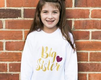 Gold Glitter Big Sister Announcement Shirt | Big Sister Little Sister Outfits | Sibling Outfits | Big Sister w Heart