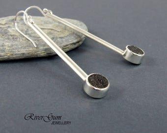 Black Quartz Druzy Earrings, Long Sterling Silver Earrings, Gemstone Earrings, Silver Bar Earrings