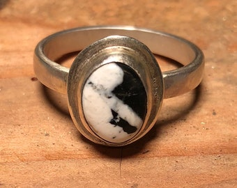Sterling silver with White Buffalo turquoise ring
