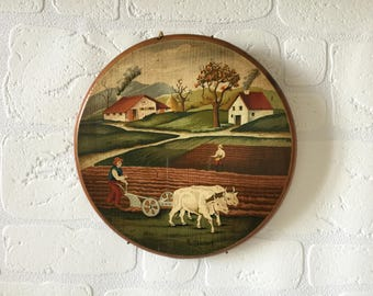 Vintage  Round Wooden Wall Hanging, Country Scene, Folk Art, Rustic Wall Hanging,  Hand Painted, 1960s