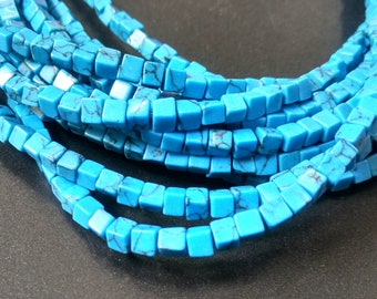 Natural Blue turquoise howlite cube beads,turquoise blue Stone Cube Beads 4x4x4mm- approx 90pcs/Strand