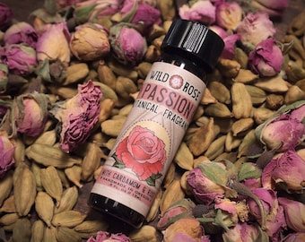 Organic Perfume PASSION Botanical Fragrance Oil Rose Cardamom 15ml // .5oz