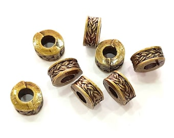 10 Antique Bronze Rondelle Beads Findings , Antique Bronze Plated Metal G8178