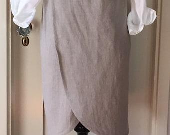 Washed Linen, Curved Cross Back, Japanese Apron, Smock, Pinafore, Layered Clothing, Medium/Large