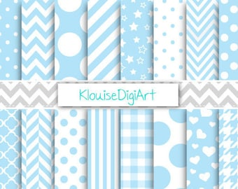 Baby Blue and White Digital Printable Papers for Personal and Small Commercial Use (0047)