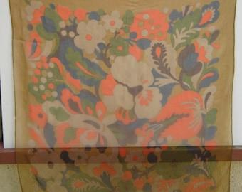 Vintage chiffon square scarf 1960s flowers