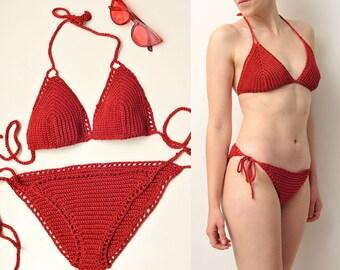handmade crochet 100% cotton bikini crochet bikini set knitted swimsuit crochet swimwear crochet bathing suit