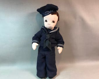 Vintage Handmade Cloth US Navy Sailor Doll