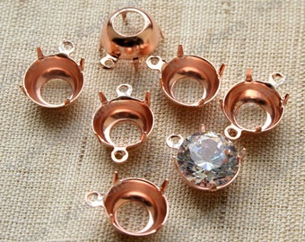 10mm Rose Gold Round Prong Setting Open Back For CZ or Glass Jewel - 1 Ring or 2 Ring
