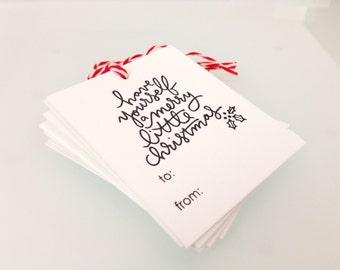 Merry Little Christmas Holiday Gift Tags Letterpress Printed