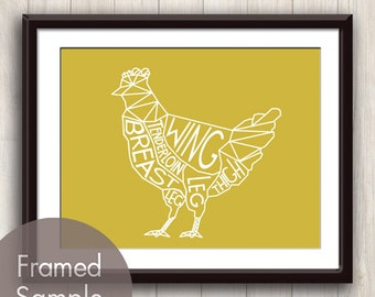 Chicken Geometric Butcher Diagram Series B - Art Print (featured in Golden Cup) Modern Kitchen Art Print