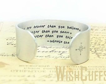 Inspirational Gift - Graduation Gift, Personalized Cuff Bracelet - Motivational Gift, You are braver than you believe Bracelet.  Custom.