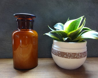 Large amber apothecary jar soy candle - hand poured with your choice of fragrance