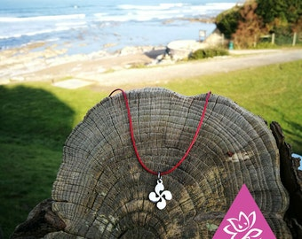 Necklace adjustable cord cross lauburu model C hypoallergenic waterproof basque