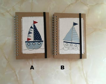 Boat notebook ,choice of boat notebooks, a6 notebook, seaside notebook, secret santa gift, decorated notebook, nautical notebook