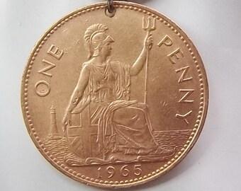 England Coin Necklace, 1 Penny, Coin Pendant, Leather Cord, Women's Necklace, Men's Necklace, 1965