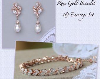 Rose Gold Bridal Set, Rose Gold Jewelry Set, Rose Gold Bracelet & Earrings Set, Rose Gold Wedding Jewelry Set, HAYLEY/FLEUR SET