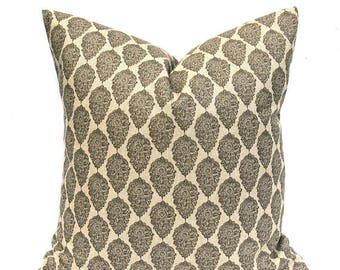15% Off Sale Black Pillow, Black Tan Pillow, Black Pillow Cover, Tan Pillow Cover, Damask Pillow, Throw Pillow Cover, French Country,  accen