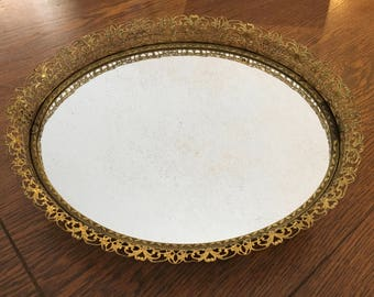 Vintage Gold Mirror Tray - Gold Oval Filigree Dresser Tray - Ornate Vanity Mirror - Hollywood Regency - Home and Living - Bar Decor