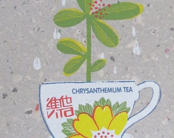 Chrysanthemum tea - original screen print wall art