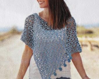 Crochet summer poncho in light blue cotton-size TU