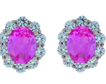 8 Carat Pink Sapphire Oval Stud Earrings .925 Sterling Silver Rhodium Finish