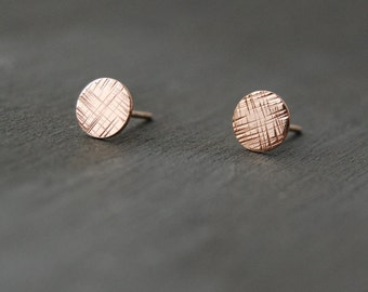 Rose Gold Cross Hatched Earrings, Rose Gold Circle Earrings, Textured Circle Earrings, Small Circle Studs, Rose Gold Filled Studs, Rose Gold