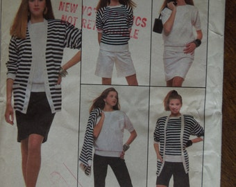 Simplicity 8679, Size Large, stretch knits, serger or standard, pants, shorts, skirt, top, cardigan, UNCUT sewing pattern, craft supplies