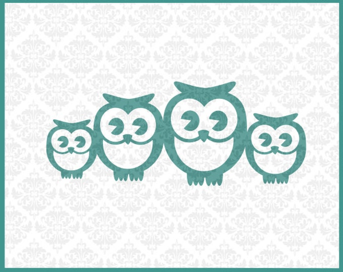CLN0132 Owl Family 2 Two Kids Mommy Daddy Babies Mother Father SVG DXF Ai Eps PNG Vector Instant Download Commercial Use Cricut Silhouette
