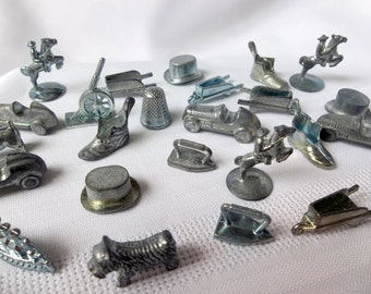 Set of eight  Monopoly pieces - old Monopoly pieces, Monopoly Tokens, metal game pieces, metal Monopoly pieces