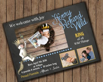Where the wild Things Are inspired Birth Announcement - 25 printed