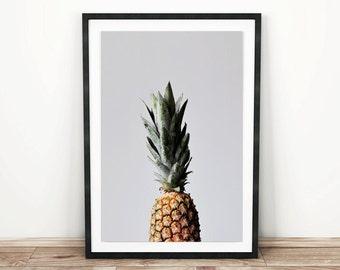 PRINTABLE wall art. Pineapple 8x10 and 11x14. botanical, floral, green, room decor, modern, romantic, tropical