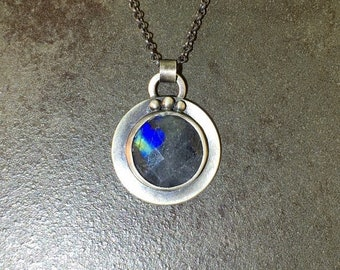 25% Off Labradorite Blue Flash Cabochon Sterling Silver Metalwork Necklace