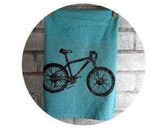 Mountain Bike Cotton Tea Towel or Dish Towel in teal or custom colors