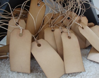 """50 Coffee Stained Hang Tags, sized 2 3/4"""" x 1 3/8"""", Vintage Tags, Antique Tags, Primitive Tags"""