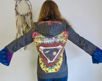 Grateful Dead Tie Dye Space Your Face Bell Sleeve Sleeves Eco Friendly Hoodie Hooded Jacket Sweatshirt Sweater Size Large