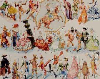 """Vintage print.1920's.DISGUISES.Carnival.Different types of costumes.Beautiful print.90 year old print.Vintage.12x9"""" or 23x31 cm."""