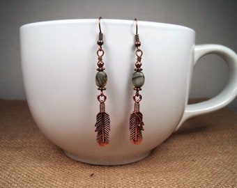 Antique Copper Picasso Jasper Feather Statement Dangle Earrings