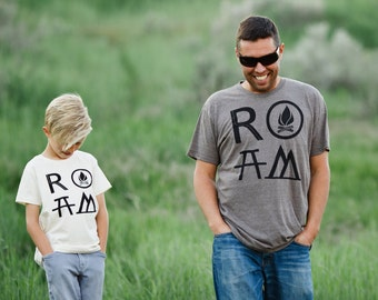 Matching Tees Father Son, Adventure Shirt, Outdoor Gift for Men, Fathers Day Shirts, ROAM Camping Shirt Set, Dad and Toddler Shirts