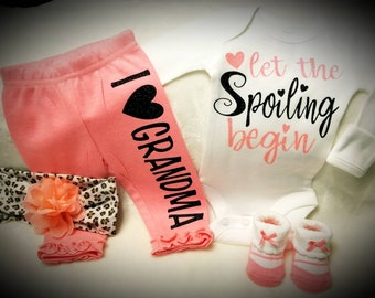 Let The Spoiling Begin, Super Cute Coming Home Or Baby Shower Gift - Can Have Any Relative On The Pants