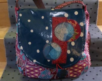 SC48 Asian Burgundy floral cotton fabric bag and flap oilcloth teal dot