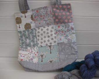 Quilted bag, large project bag, project bag for knitting, project bag for crochet