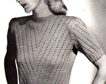 Vintage 1949 Enchanting Eyelet Pullover 5125 PDF Pattern / Jack Frost Book 51