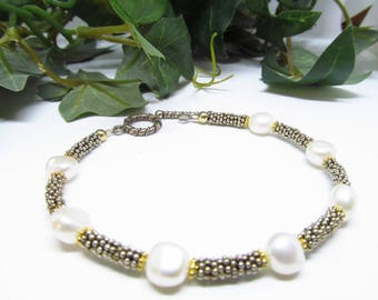 Vintage Fresh Water Pearl Ladies 8 Inch Silver and Gold tone Beaded Bracelet White Fresh Water Pearl Bracelet Silver and Gold tone Bracelet