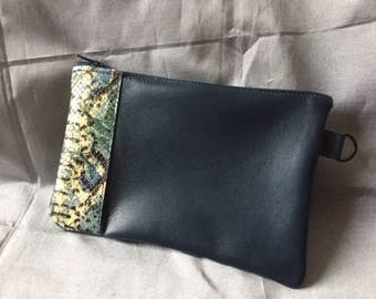 Flat pouch Navy inlay snake
