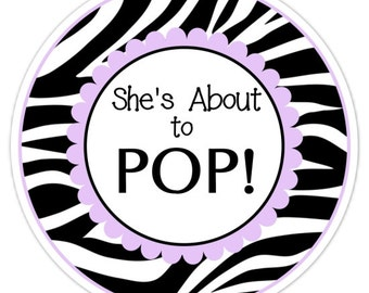 About to Pop labels, Baby Shower Stickers, Zebra and Lavender About to Pop Stickers, Baby Shower Labels