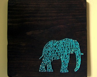 Elephant Silhouette  - Modern String Art Tablet - Teal String