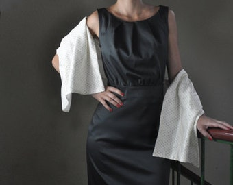 50s shift dress with pleats at the neckline