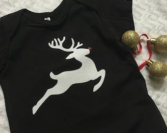 White Glitter Rudolph diy tshirt transfer